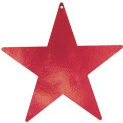 "Amscan Stylish Foil Star Five Pack Party Cutouts, 15"", Red"