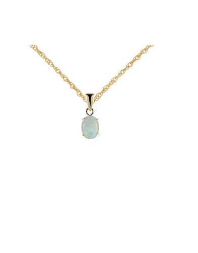 9ct Yellow Gold 8x6mm Oval Real Opal Pendant with 18