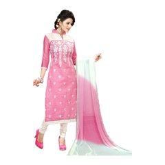 S P Marketing Pink Churidar Straight Embroideredpink Churidar Dress Material