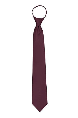 Jacob Alexander Solid Color Men's Pretied Zipper Tie - Burgundy Wine Mens Zipper Tie