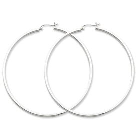 Genuine IceCarats Designer Jewelry Gift Sterling Silver Rhodium-Plated 2Mm Square Tube Hoop Earrings