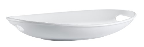 CAC China MX-OT18-P1 Porcelain Deep Oval Platter with Two Handles, 18 by 12 by 2-3/4-Inch, Super White, Box of 1