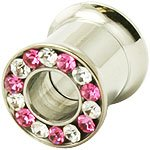 6.5mm ( 2GA ) Pink and Clear Crystal Double Smooth Flared Screw-Fit Flesh Tunnel Ear Plug Earring