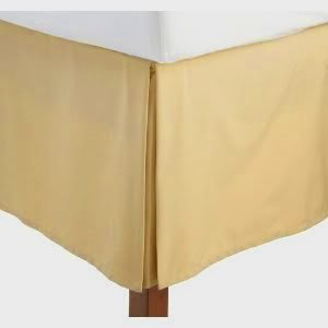 Wrinkle-Free Solid Gold California King Size Pleated Tailored Bed Skirt With 14 Inches Drop- 95 Gsm, 100% Microfiber.