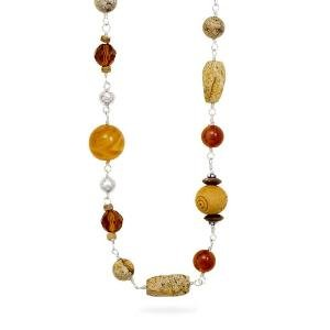 Tiger Eye, Carnelian, Black Onyx, Wood Beaded Necklace Sterling Silver 34-inch Length