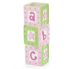 Stacked ABC Pink and Green Ceramic Block Vase for Baby Girl Nursery