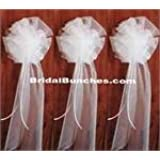 """White Tulle Wedding Pew Bows Church Decorations Set of 14 8""""x22"""""""