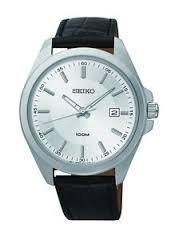 Seiko Mens SUR065 White Dial Black CalfSkin Leather Strap