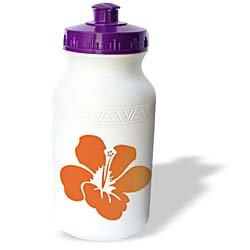 PS Flowers - Orange Hibiscus Flower - Hawaiian Floral - Tropical Art - Water Bottles