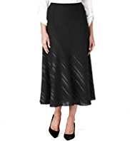 M&S Collection Satin Striped Flared Hem Skirt