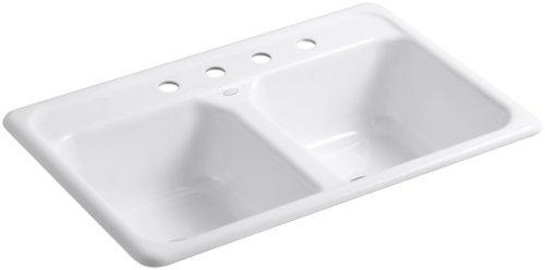 KOHLER K-5817-4-0 Delafield Self-Rimming Kitchen Sink, White (Cast Iron Sinks Kitchen compare prices)