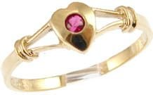 14k Yellow Gold, Dainty Heart Design Ring with Lab Created Round Red Colored Center Stone