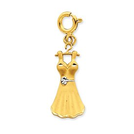 14k Two-Tone Diamond-cut Dress Charm - Measures 29.6x9.5mm - JewelryWeb