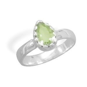 Sterling Silver Pear Shape Green Amethyst Ring / Size 6