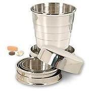 Kidzone Portable Folding Stainless Steel Travel Camping Water Mug Cup Glass