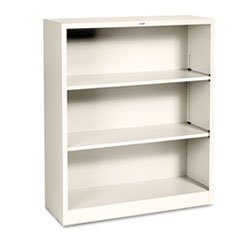 ** Metal Bookcase, 3 Shelves, 34-1/2w x 12-5/8d x 41h, Putty **