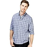 "2"" Longer Pure Cotton Over Checked Shirt"