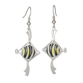 Franz Porcelain Angel fish Rhodium plated brass & porcelain earrings