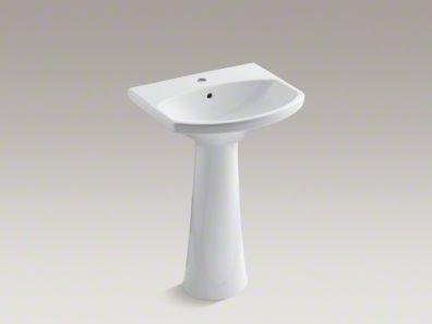 Read About Kohler K-2362-1-0 Cimarron Pedestal Lavatory with Single-Hole Faucet Drilling, White