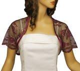 Grace and Flair Wine Short Sleeve Lace Bolero Shrug