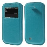 JUJEO Blue Pull Tab Window View Leather Case Pouch for Samsung Galaxy S4 i9500/S3 i9300 - Retail Packaging - Blue