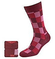 2 Pairs of Sartorial Modal Blend Square Print Socks with Silk