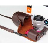 MegaGear - Ever Ready Protective Dark Brown Leather Camera Case, Bag for Sony NEX-7 with Lens