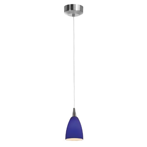 Access Lighting 94019Led-4-Bs/Cob Zeta Mania   One Light Led Canopy Pendant With Cobalt Glass Shade, Brushed Steel Finish