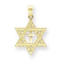 14k Diamond-Cut Star Of David With Cross Pendant - Measures 16x16mm - JewelryWeb