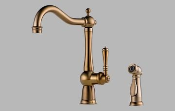 Brizo 61136LF-BZ Tresa Single Handle Kitchen Faucet with Spray – Brushed Bronze