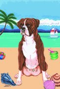 Boxer Brindle - by Tomoyo Pitcher, Summer Themed Dog Breed Flags 12 x 18