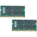 BUFFALO メモリ DDR2 667MHz SDRAM(PC2-5300) 200Pin S.O.DIMM 2GB 2枚組 D2/N667-2GX2