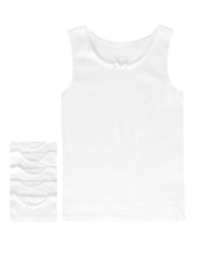 5 Pack Pure Cotton Scallop Trim Bow Vests
