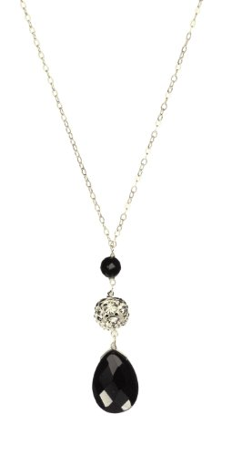 Black Onyx Teardrop and Fireball Drop on Sterling Silver Chain Necklace 18
