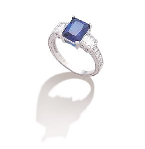 Sterling Silver Rhodium Plated Dark Blue CZ Rectangle with Baguette Sides Ring / Size 7