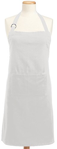 DII 100% Cotton Adjustable Chef Kitchen Apron, Machine Washable with Pockets, White