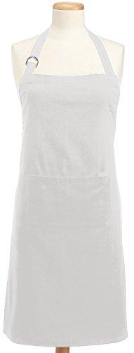 DII 100% Cotton Adjustable Chef Kitchen Apron, Machine Washable with Pockets, White