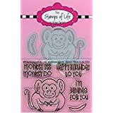 Animal Monkey Stamps and Metal Die Cuts for Scrapbooking and Card-Making by The Stamps of Life - Monkey Pudgie