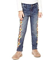 Cotton Rich Adjustable Waist Embroidered Skinny Jeans