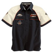 Buy Harley Davidson Men's Fuel Cell Garage Short-sleeve Shirt. 100% cotton twill shirt has button front, two buttoned chest pockets and colorblock styling on sleeves. Screamin' Eagle and Harley-Davidson Racing graphics. 98285-07VM