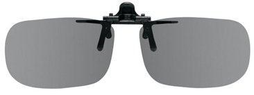 "Polarized Clip On Flip Up Plastic Sunglasses, Large Tru Rectangle, 60Mm Or 2-23/64"" Wide X 38Mm Or 1.50"" High (128Mm Or 5"" Wide), Polarized Grey Lenses"