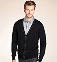 XXXL Autograph Pure Wool V-Neck Tipped Cardigan