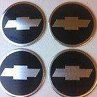 Chevy Camaro Bowtie Wheel Center Black/Chrome Decals, 4-Pcs
