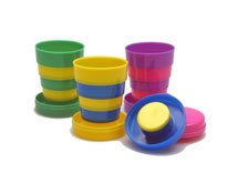 Collapsible Striped Folding Cups - 3 pack