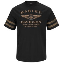 Harley-Davidson Mens 110th Anniversary Rough And Ready Black Short Sleeve T-Shirt