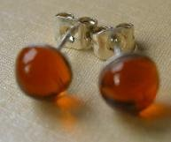 Hand Made Beautiful Yellowy-Orange Glass and Silver Plated Studs (glass 6mm diameter)