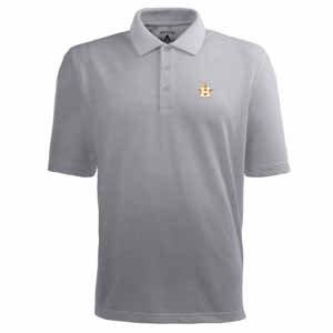 Houston Astros Classic Pique Xtra Lite Polo Shirt (Grey) - Medium by Antigua