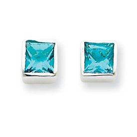Sterling Silver Squared Light Blue CZ Post Earrings