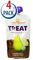 Happy Baby Happy Squeeze Organic Superfoods Treat Chocolate Pear &#8212; 3.5 oz Each / Pack of 4