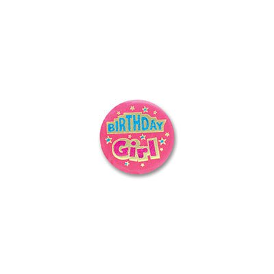 "Birthday Girl Satin Button With Pink/Blue Print 2"" Party Accessory - 1"